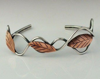 Leaf Cuff Bracelet, Sterling Silver and Copper Leaves Cuff, Mixed Metal Leaf Cuff Bracelet