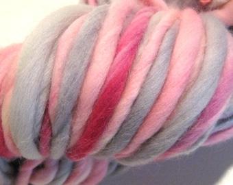 Handspun Yarn Henrietta Hippo 94 yards hand dyed merino wool grey yarn pink yarn waldorf doll hair knitting supplies crochet supplies