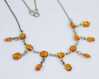 Art Deco Topaz Glass, Fringe Necklace, Open Back, Vintage 1930 Antique Jewelry