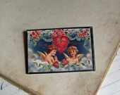 Valentines Day Postcard Pin, Original Postcard Jewelry Clearance