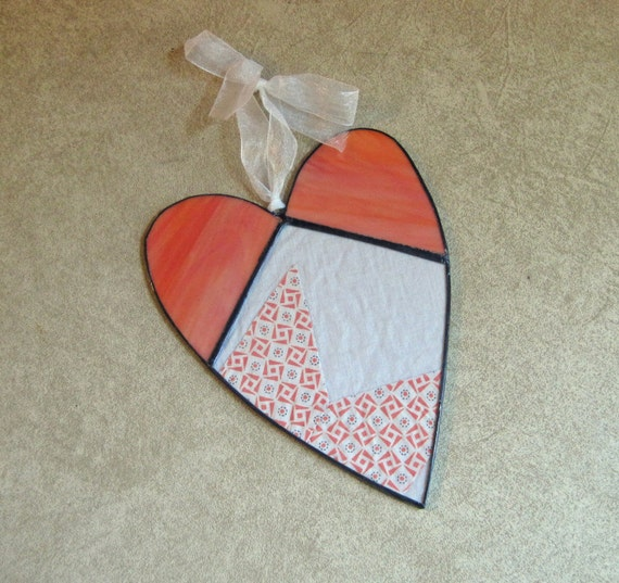 Vintage Quilt Top Stained Glass Heart Suncatcher One of a Kind