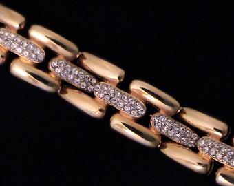 Vintage Estate GIVENCHY Golden Pave Crystal Rhinestone Bracelet