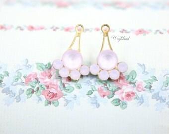 Rose Pink Powder & Rose Water Opal Fan Charms Swarovski Crystal Brass Settings Rhinestone Drops - 11x17mm - 2