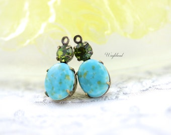Vintage Oval Glass Dangles Set Stones 1 Ring Green Blue Matrix & Olive 18x8mm Antique Brass Prong Settings - 2