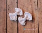 Girls Hair Bows--White--2 Inches