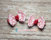 Girls Hair Bows--Valentine's Hearts--2 Inches