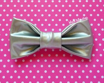 Silver Hair Bow Clip Barrette Pastel Goth Soft Vinyl Retro 80s Small Hair Accessory for Teens Women