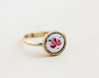 Rose Flower Ring, Guilloche Ring, Rose Ring, Flower Ring, Gold Flower Ring, Pink Ring, Round Ring