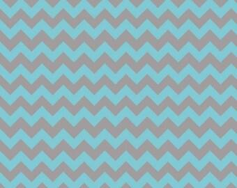 Flannel, Small, Chevron, Blue, Grey, Aqua/Gray, Riley, Blake, Designs, Fabric, Baby, Boy, Aqua, Blue, Gray, You Choose The Yardage