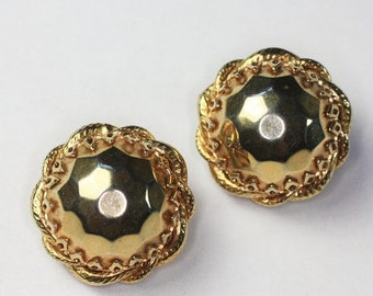CIJ Sale Domed Bold Chunky Earrings Gold Tone Faceted Clips Vintage