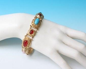 Simulated Gemstone Bracelet Gold Tone Faux Carnelian Lapis Turquoise Rose Quartz