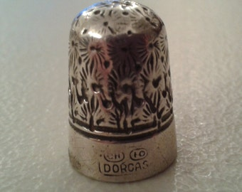 Silver and Steel Thimble 'Dorcas' by Charles Horner-late 1800s