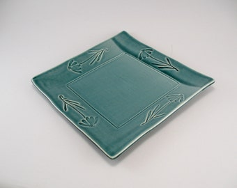 Square Serving Plate-Pottery Platter-Tableware-Ceramic Tray-Cone Flower-Teal-Ready to Ship
