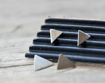 Triangle and Arrow Earrings, sterling silver ear jacket post earrings