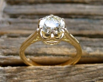 Diamond Engagement Ring in 18K Yellow Gold with Scrolls on Basket Style Setting Size 6