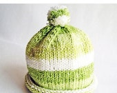 SALE 30% OFF - Baby Hat Fresh Lime Stripes Hand Knit Roll Brim Pom Pom, great for Photo Props