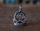 Antique French Silver Heart Marriage Fob Charm Wax Seal