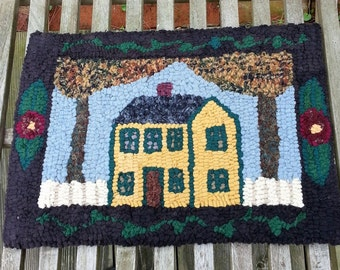 Gold Cottage Primitive Hooked Rug by Sharon Perry