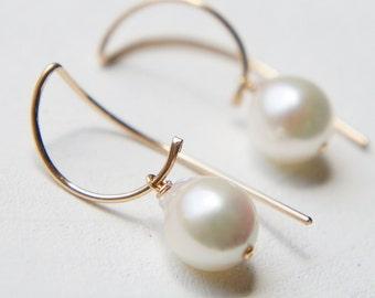 Japanese Akoya Earrings, Simple Dangle Earrings, Long Ear Wire, Gold Filled, Half Moon Earrings, Wedding Bridesmaid Earrings