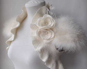 Bolero, Shrug, Bridal Bolero, Bridal Shrug, Cover Up,  Wedding Bolero Cashmere Merino 30% OFF, Marabou Cap Sleeves, Roses, Pearls Brooch