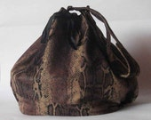 Drawstring bag bucket bag snake print synthetic suede lined vegan handmade