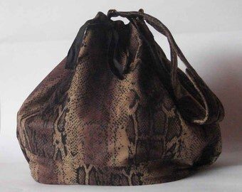 Drawstring bag bucket bag snake print synthetic suede lined vegan handmade