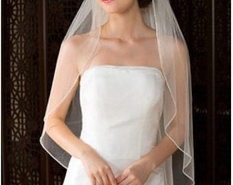"""Rolled pencil edge wedding Veil ivory single tier 36"""" on comb"""