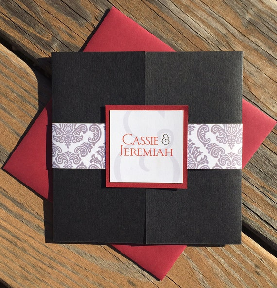Gatefold Wedding Invitations - Black and Red Damask with Belly Band