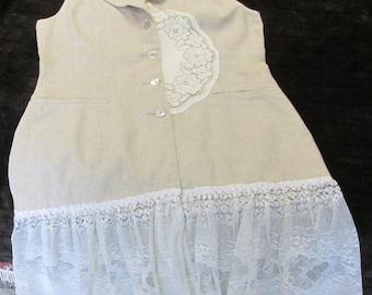 Upcycled beige linen blend long vest duster drop waist refashion ladies 7/8 vtg lace & doilies