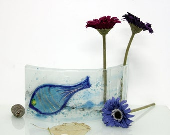 Curved vase dwvided to tow vases, Fused glass blue fish sea colors, Housewarming Gift, Wedding Gift