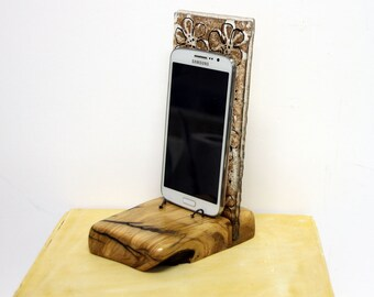 iphone dock, fused glass Android stand,Fused Glass gold flowers