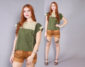 Vintage 70s ETHNIC TOP / 1970s Woven Green Cotton Loose Fit Embroidered South American Blouse Shirt