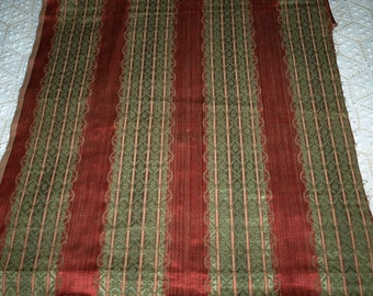 Beautiful Edwardian Textile Fabric Red, Green Damask with Gold Threads from Europe Antique