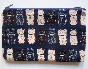Pencil/Cosmetics Case - Japanese Lucky Cat on navy blue kimono cotton