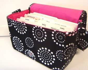 Super Size Fabric Coupon Organizer Box Holder -Attaches to your Shopping Cart - Black with White Dotted Circles with Pink Lining
