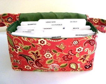 Medium Size Coupon Organizer Holder - Attaches to your shopping cart - Rust and Olive Green Paisley