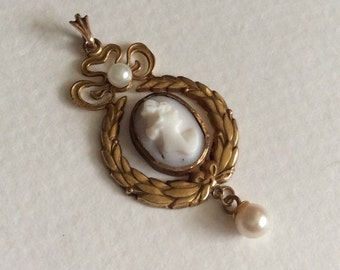 Edwardian cameo pendant 10k angel skin coral with akoya pearls