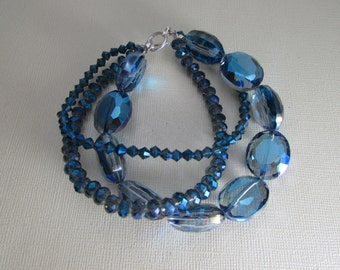 Extra Blingy Three Strand Crystal and Sterling Silver Bracelet