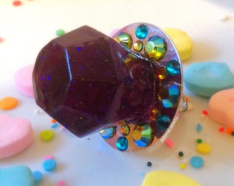 Ring Pop Resin Candy Jewelry- Luscious Purple Glitter Grape - Candy Glam - Ring Pop Resin Ring - Kawaii Kitsch