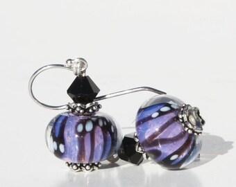 Purple Earrings,  Glass Bead Earrings, Lampwork Beads, Dangle Earrings, Butterfly, Lampwork Earrings, Purple, Lavender