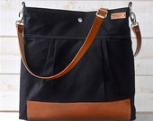 BLACK Diaper bag, Cross body bag,Messenger bag ,travel bag Stockholm with Leather strap and bottom