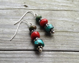 Earrings Silver Bohemian Heishi Turquoise And Red Coral Earrings