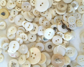 200 Mother of Pearl White Buttons . Vintage White Buttons . Jar of Antique Shell Buttons . Vintage Jar . Button Collection . DIY