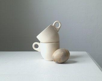 Ivory Children's Mugs .Two Vintage Children's Cups . Espresso Cups