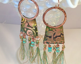 The Fringe Has It Etched Copper, turquoise and fiber Earrings