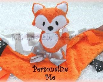Baby boy fox blanket, free personalization, gray chevron with orange blue or green minky, ribbons, plush fox rattle toy, lovey lovie lovy,