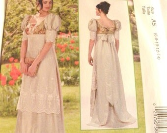 McCalls 7420 Gown empire waist Halloween Costumes Victorian Gown  new uncut size 6, 8, 10, 12, 14  2016