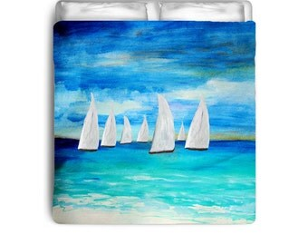 Sea breeze sailing nautical beach duvet cover from my art. Available in twin,queen and king sizes