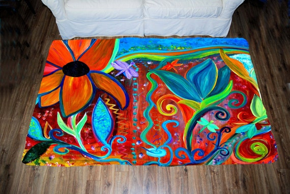 Abstract retro floral art indoor area rug from my art