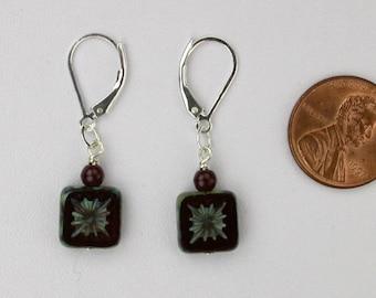 Burgundy Czech Glass Earrings